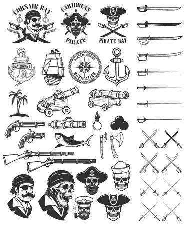 Pirates design elements. Corsair skulls, weapon, swords,guns. Design elements for logo, label, emblem, sign, poster, t-shirt. Vector illustration