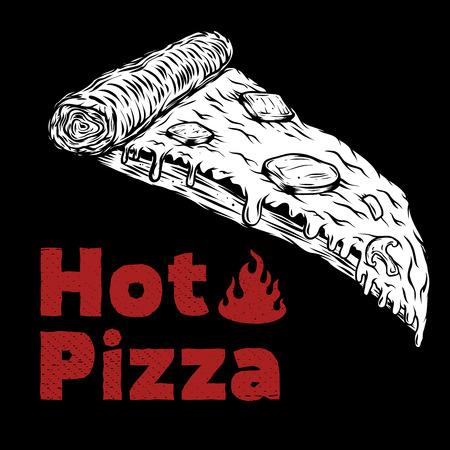 Pizza illustration isolated on black. Design element for menu, poster. Vector illustration Illustration