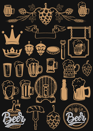 Set of design elements for beer labels. Beer mugs, hops, barrels. Vector illustration