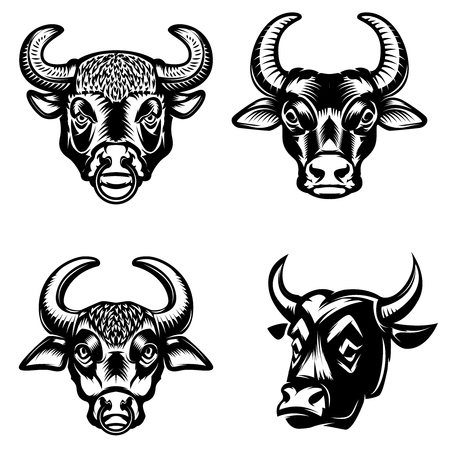 Set of bull heads icons on white background. Design elements for logo, label, emblem, sign.