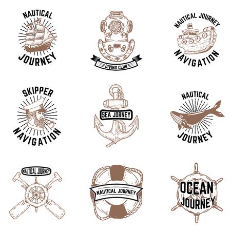 Set hand getrokken nautische emblemen. Skipper, anker, vaartuig, duikerhelm. Ontwerpelementen voor label, embleem, teken, badge, poster, t-shirt. Stockfoto - 79646983