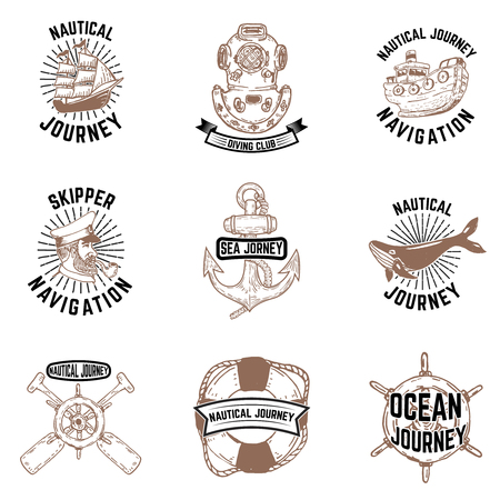 Set of hand drawn nautical emblems. Skipper, anchor, vessel, diver helmet. Design elements for label, emblem, sign, badge, poster, t-shirt.