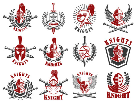 Set of knight emblems. Design elements for logo, label, emblem, sign, badge. Vector illustration
