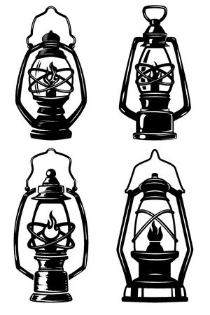Set of old style kerosene lamps. Design elements for label, emblem, sign, badge, poster, t-shirt. Vector illustration Vetores