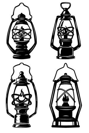 Set of old style kerosene lamps. Design elements for label, emblem, sign, badge, poster, t-shirt. Vector illustration
