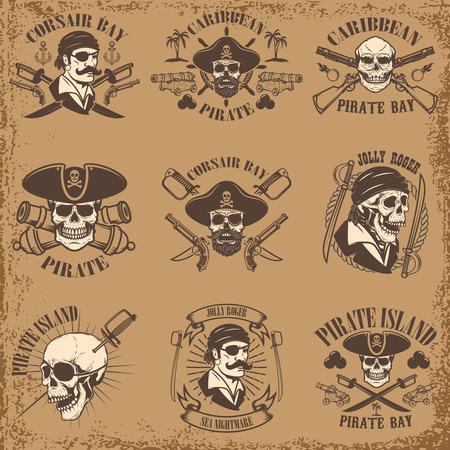 Set of pirate emblems on grunge background. Corsair skulls, weapon, swords,guns. Design elements for logo, label, emblem, sign, poster, t-shirt. Vector illustration