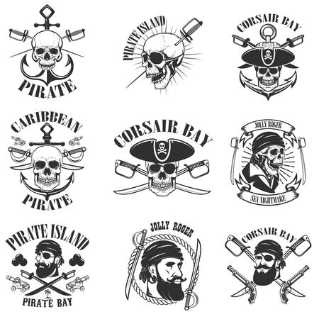 pirate emblems onwhite background. Corsair skulls, weapon, swords,guns. Design elements for logo, label, emblem, sign, poster, t-shirt. Vector illustration Illustration