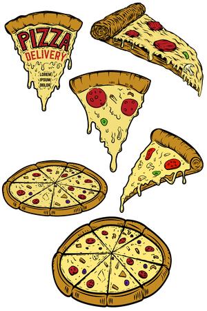 ピザのイラストのセットです。ポスター、メニュー、レストランのチラシ デザイン要素です。ピザ配達人。ベクトル図