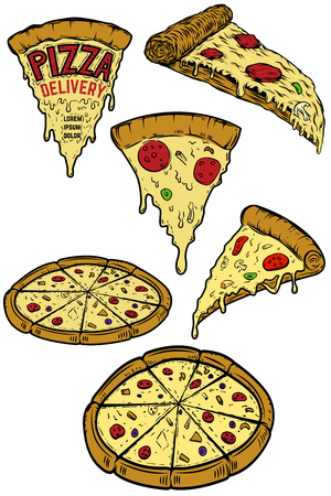 Set van pizza-illustraties. Ontwerpelementen voor poster, menu, restaurant flyer. Pizza bezorging. Vector illustratie
