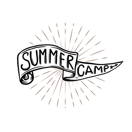 Summer camp emblem. Hand drawn flag with lettering on sunburst background. Vector design element