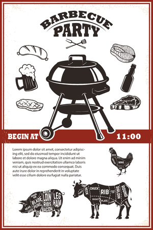 roasted: Vintage bbq party poster template. Grill, steak, meat, beer bottle and mug. Cow, pork, chicken butcher diagram. Vector illustration