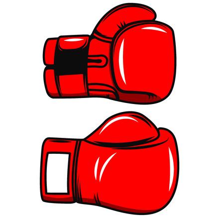 Boxing gloves isolated on white background. Design element for poster, emblem, label, badge. Vector illustration.