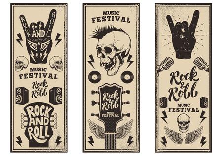 Plantilla de volantes de fiesta de rock and roll. Las guitarras del vintage, el cráneo punk, el rock-and-roll firman en fondo del grunge. Ilustración vectorial