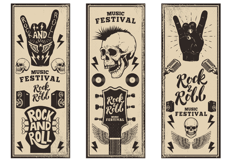 Rock and roll party flyers template. Vintage guitars, punk skull, rock and roll sign on grunge background. Vector illustration Imagens - 80034233