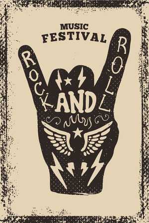 Rock en roll partij poster sjabloon. Rock and Roll-teken op grungeachtergrond. Vector illustratie