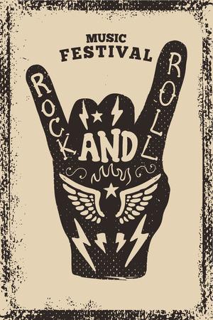 Rock en roll partij poster sjabloon. Rock and Roll-teken op grungeachtergrond. Vector illustratie