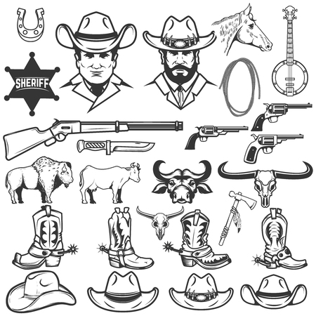 Set of cowboy design elements. Cowboy boots, hats, weapon. Cow, bull, buffalo. Design elements for logo, label, emblem, sign, badge. Vector illustration Illustration