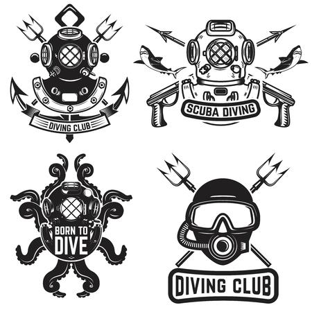 ビンテージ ダイビング ヘルメットのセットです。ダイバーのエンブレム。ダイバーの武器。ベクトル図  イラスト・ベクター素材
