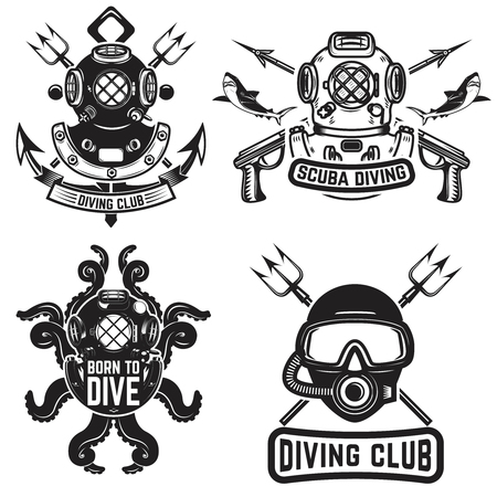 Set of vintage dive helmets. Diver emblems. Diver weapon. Vector illustration