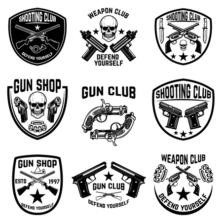 Set of weapon club, gun shop emblems. Labels with handguns. Vector illustration