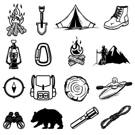 Set of hiking, tourism icons. Design elements for logo, label, emblem, sign, brand mark. Vector illustration
