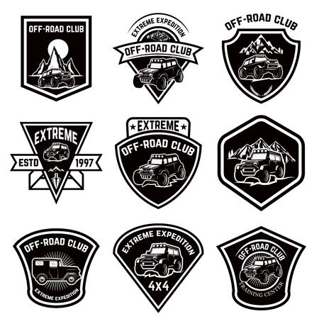 Set of four off-road suv car emblems. Extreme adventure club. Vector illustration Illustration