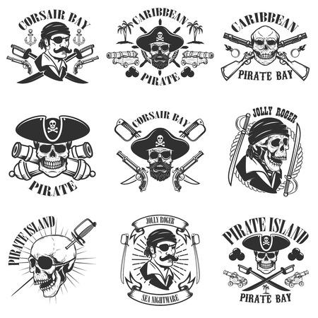 Pirate emblems onwhite background. Corsair skulls, weapon, swords,guns. Design elements for logo, label, emblem, sign, poster, t-shirt. Vector illustration