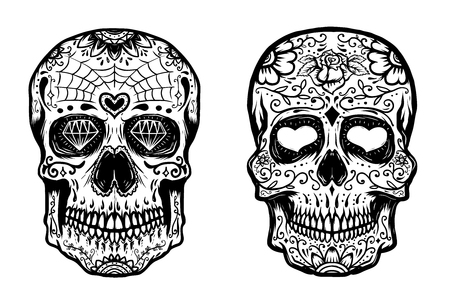Set of hand drawn sugar skulls on white background. Vector illustration