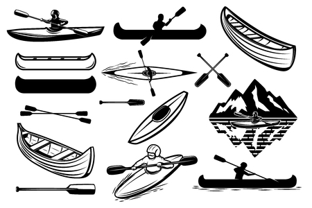 Set of the kayaking sport icons. Canoe, boats, oarsmans. Design elements for logo, label, emblem, sign. Vector illustration