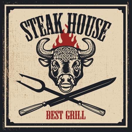 Steak House poster template. Bull head with fire, fork, knife on grunge background. Design elements for emblem, label, restaurant menu. Vector illustration