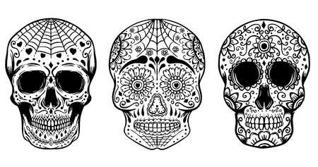 Set of hand drawn sugar skulls isolated on white background. Day of the dead. Dia de los Muertos. Design elements for poster, t-shirt. Vector illustration Illustration