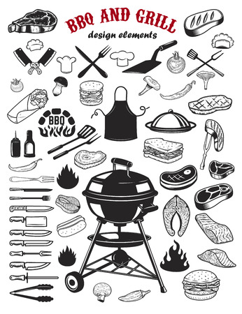 Große Reihe von BBQ- und Grill-Designelementen. Küchengeschirr, gegrilltes Fleisch, Lachsfleisch, Burger, Sandwich, Pfeffer, Champignons, Tomaten. Elemente für Logo, Label, Emblem, Schilder, Restaurant-Flyer. Vektor-Illustration Standard-Bild - 80491302