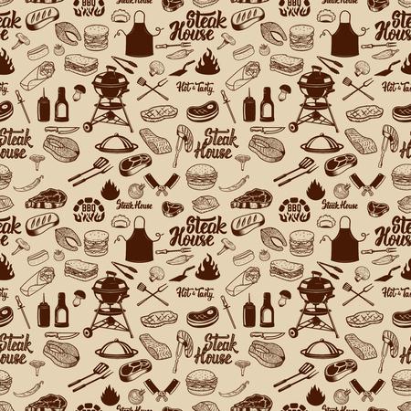 BBQ and Grill wzór. Mięso z grilla, narzędzia kuchenne. Element projektu do plakatu, papieru do pakowania. Ilustracji wektorowych Ilustracje wektorowe