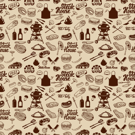 BBQ and Grill seamless pattern. Grilled meat, kitchen tools. Design element for poster, wrapping paper. Vector illustration