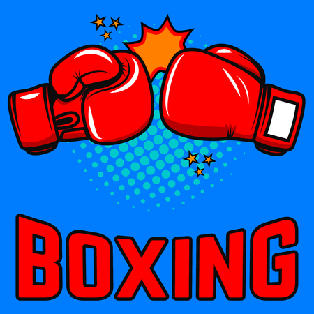Boxing. Boxing gloves on pop art style background. Design elements for poster, emblem, sign. Vector illustration