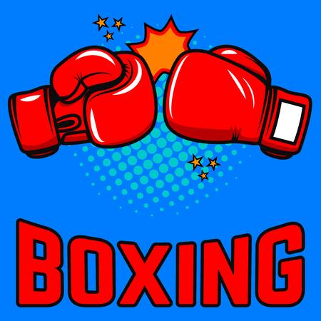Boxing. Boxing gloves on pop art style background. Design elements for poster, emblem, sign. Vector illustration