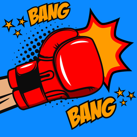 Boxing bang bang. Boxer glove on pop art style background. Vector design element
