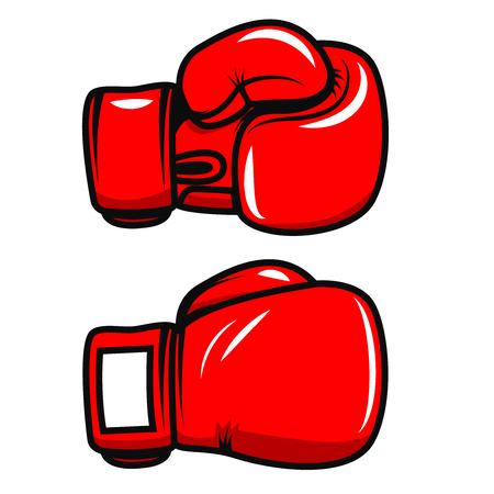Boxing gloves isolated on white background. Design element for poster, emblem, label, badge. Vector illustration
