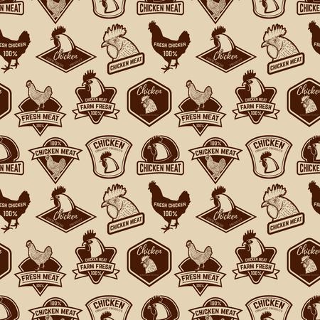 Nahtloses Muster mit Hühnerfleisch beschriftet Muster. Gestaltungselement für Poster, Geschenkpapier. Vektor-Illustration Standard-Bild - 80490915