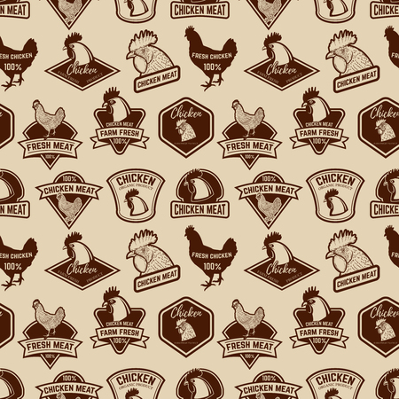 Seamless pattern with Chicken meat labels pattern.  Design element for poster, wrapping paper. Vector illustration