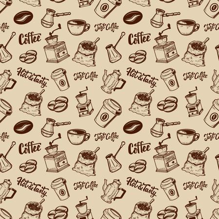 Kawa wzór. Kawa ziarnista, młynki, filiżanki. Element projektu do plakatu, papieru do pakowania. Ilustracji wektorowych