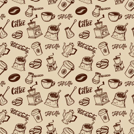 Coffee seamless pattern. Coffee beans, mills, cups.  Design element for poster, wrapping paper. Vector illustration Stock Illustratie