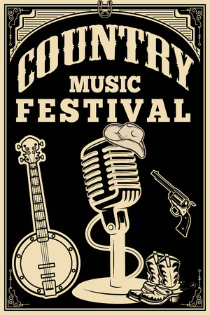 country music festival poster. Old style microphone, cowboy boots, hat, revolver, banjo. Vector design element Illustration