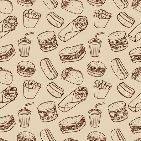 패스트 푸드 일러스트 패턴으로 원활한 패턴입니다. 포스터, 포장지 디자인 요소입니다. 벡터 일러스트 레이 션
