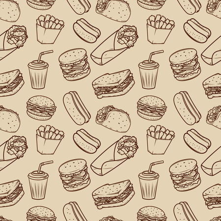 Seamless pattern with fast food illustrations pattern.  Design element for poster, wrapping paper. Vector illustration Ilustração