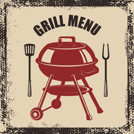Grillmenu. Grill, vork en keukenspatel op grungeachtergrond. Ontwerpelement voor poster, menu. Vector illustratie
