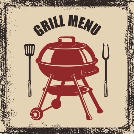 Grill menu. Grill, fork and kitchen spatula on grunge background. Design element for poster, menu. Vector illustration Illustration