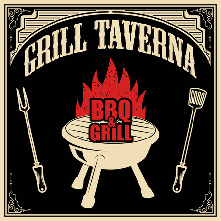 dinner party: Grill taverna. BBQ and grill. Design element for poster, menu. Vector illustration