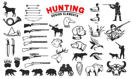 Set van jacht ontwerpelementen. Jachthonden, wapen, shooters silhouetten. Herten, beren, wilde eenden. Ontwerpelementen voor embleem, teken, label, badge. Vector illustratie Stock Illustratie