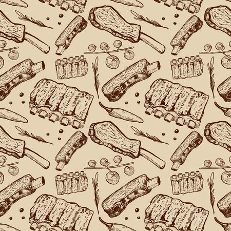 Patrón transparente con costillas de carne de vacuno. Carnicería. Elemento de diseño para póster, papel de embalaje. Ilustración del vector